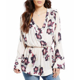 Fre People Blusa Talla Small Color Ivory Con Flores
