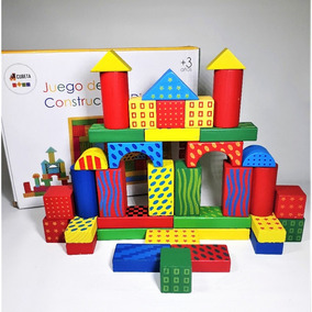 Juego Construcción Didáctico Infantil Bloques De Madera dc3e68fc56b