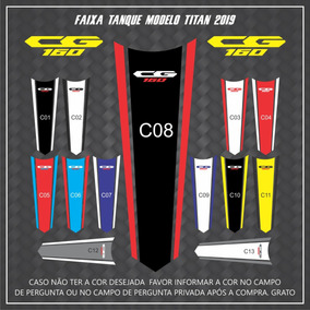 Adesivo Faixa Central Do Tanque Modelo Honda Cg Titan 2019