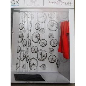 Cortina Box Banheiro Com Jogo Ganchos 1,80 X 1,80 Anti-mofo