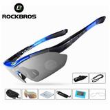 Oculos Rockbros 5 Lentes Com Estojo E Acessórios Azul