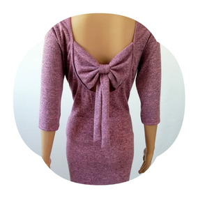 Vestido Rosa, Escote Moño,sweter,casual