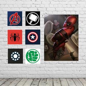 Poster Marvel E Deadpool Kit 7 Unidades Sem Juros