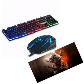 Kit Gamer Teclado Semi Mecânico Led + Mouse Gm600 + Mousepad