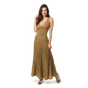 Vestido Longo Festa De Tricot Plissado Com Lurex Verão 5067