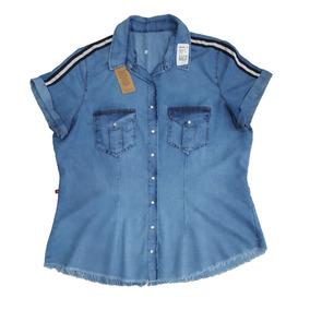 Camisa Jeans Feminina Plus Size Detalhe Na Manga