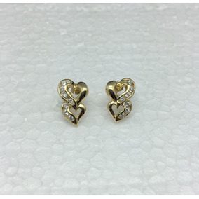 Aretes De Corazón Con Piedra Zirconia, Chapa De Oro 14kt