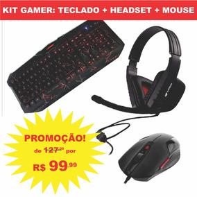 Kit Gamer: Teclado Profissional + Headset + Mouse Promoção