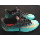 Chuteira Nike Futsal Vaporx 12 Club Cr7 Tf Jade ouro Usada 1e87c6062aae6