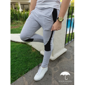 Pants Slim Fit Skinny Gris Franja Blanca Moon & Rain