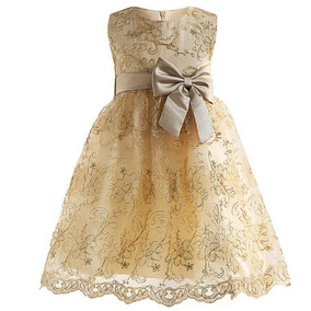 a1917b5ddf5 Vestido Infantil Festa Renda Casamento Daminha Dourado Luxo