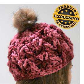 Touca De Croche Com Pompom - Acessórios da Moda no Mercado Livre Brasil 46269efd2b1