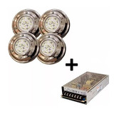 Kit 4 Luz Para Piscina Led 6w Blanco 12v Sumergible + Fuente