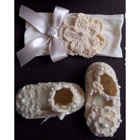 Zapatos Tejidos Tiara Para Bebé Pastel Perlas Beige
