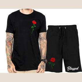 Kit Camiseta + Bermuda Moletom Blessed Fé Tumblr Flor Top