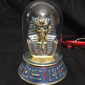 Escultura Cerámica Tutankhamon Pintada A Mano Alta Coleccion