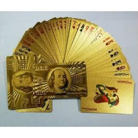 Baralho Dourado Ouro 24k Folheado Poker Truco Cartas Jogos