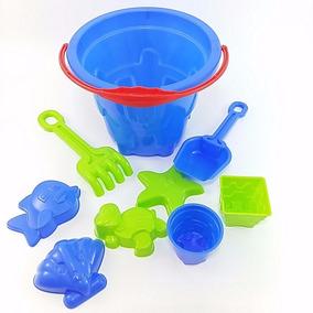 Baldinho De Praia Brinquedo Infantil 9 Peças Paramount Azul