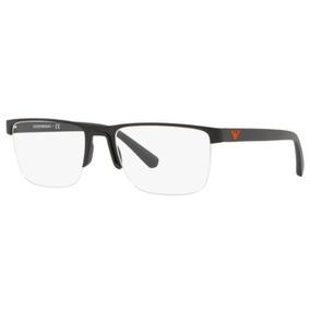 4e314877af95b Armação Óculos De Grau Emporio Armani Meio Aro Aste Preta - Óculos ...