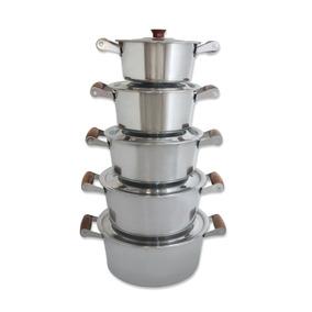 Conjunto 5 Panela Caçarolas Alumínio Com Tampas + Brinde Top
