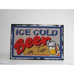 Placa Decorativa Ice Cold Beer On Tap