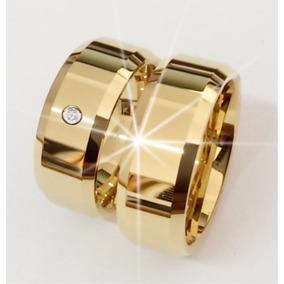 Par Aliança Tungstênio 8mm Chanfrada Pedra Banhada Ouro
