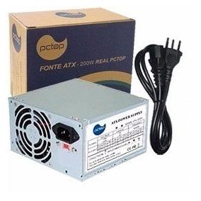 Fonte Pc Top 200w Real Fapt200 C/ Cabo Box