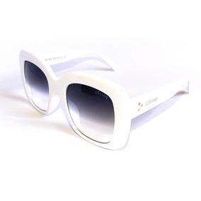 Óculos Escuro Feminino Lente Degradê Acetato Celine Branco. R  99 fc6144eede
