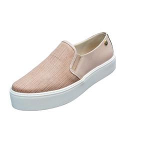 Tênis Slip On Flatform Feminino Quality Shoes Couro