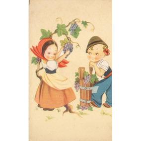 Postal C. 1910 Desenho Crianças Colhendo Uvas