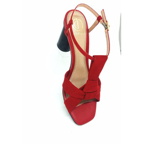 Sandália Feminina Vermelha Salto Preto Dumond Na Li & Ca