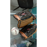 Como Nuevo!! Guantes De Beisbol De Cuero Spalding + Pelota