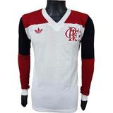 Camisa Retrô Flamengo 1981 Branca Blusa Manga Longa + Nome a1420cc9527ef