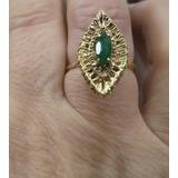 Belo Anel De Diamantes E Esmeralda Ouro Amarelo