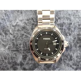 Relógio Original Fossil Prata Com Aro Preto