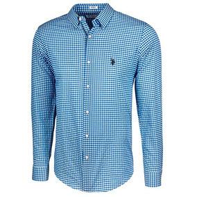 Camisa U.s Polo Assn Usyms-41-5787 Azul Blanco Caballero Oi