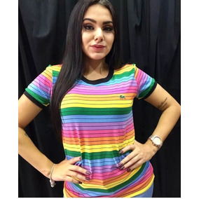 2d27e8d79310f Camiseta Baby Look Lacoste Arco Iris Feminina