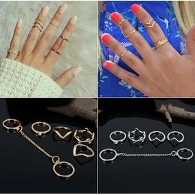 Anillos Midi Ring Tendencia Accesorios 5 X 1 Set Mujer 197gs
