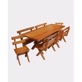Mesa Para Churrasco 2m Com Bancos E Cadeiras Madeira Maciça