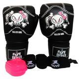 Kit Muay Thai Luva Bandagem Bucal Feminino Fight Brasil 14oz