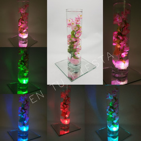 15 Centro De Mesa Con Luz De Led Luminoso Florero Vidrio