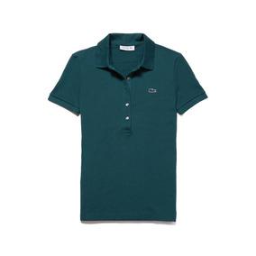 Polo Lacoste Slim Fit Elástico Verde Fuerte