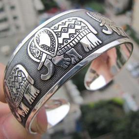 Bracelete Elefante Indiano Feminino Liga Metálica Tibetano