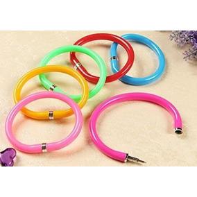 Kit Canetas Coloridas 6 Pulseira Bracelete Material Escolar