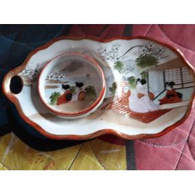 Lote 2 Platitos De Porcelana Japonesa Antiguedad