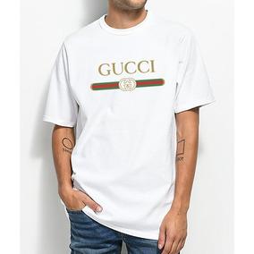 Camiseta Masculina Gucci Básica Logo Dourado Exclusivo Linda
