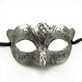Máscara Veneziana Masculina Romano Prata Velha Festa Noivo