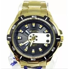 e4be0836aea Relogio Masculino Original Atlantis Dourado Com Fundo Preto ...