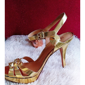 Sandália Salto Alto Dourada Schutz