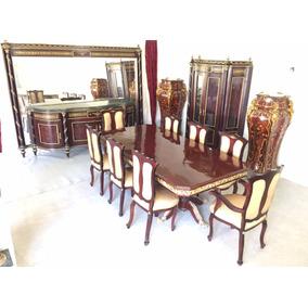 Mesa De Jantar Clássica Madeira E Bronze 8 Cadeiras